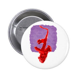 Saxophone painting, red version with red hands pinback button