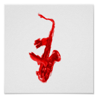 Saxophone painting, red version with red hands poster