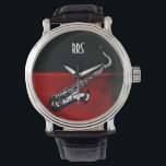 "Saxophone Personalized Monogram Gift Watch<br><div class=""desc"">For you to personalize/customize with recepient&#39;s initials/name,  choose ideal font,  font color or delete it if not needed.  Available in many different styles &amp; colors.</div>"