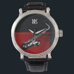 """Saxophone Personalized Monogram Gift Watch<br><div class=""""desc"""">For you to personalize/customize with recepient&#39;s initials/name,  choose ideal font,  font color or delete it if not needed.  Available in many different styles &amp; colors.</div>"""