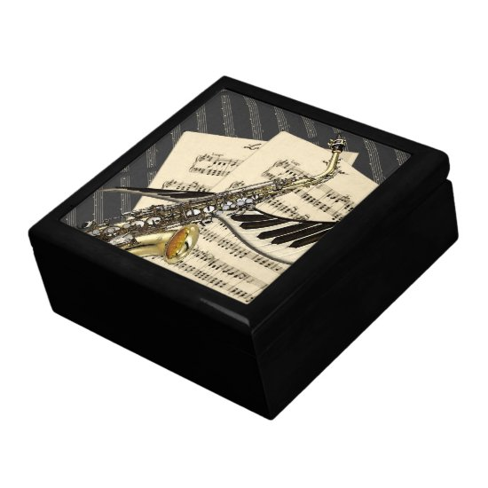 Saxophone & Piano Music Design Keepsake Box