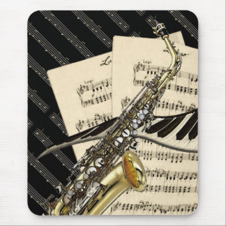 Saxophone & Piano Music Design Mouse Pad