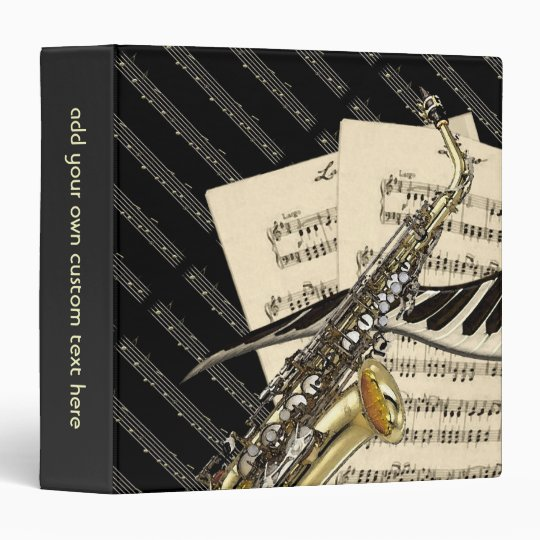 Saxophone & Piano Music Design Personalized Binder