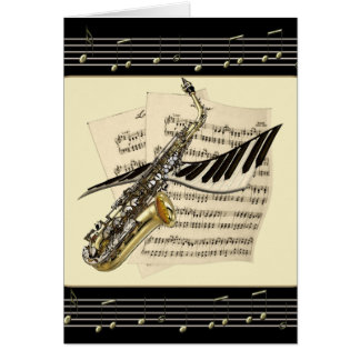Saxophone & Piano Music Greetings Cards