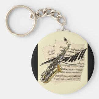 Saxophone & Piano Music Keyring Keychain