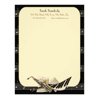 Saxophone & Piano Music Letterhead