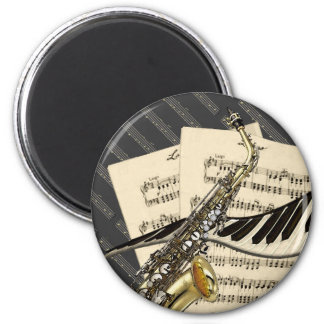 Saxophone & Piano Music Magnet