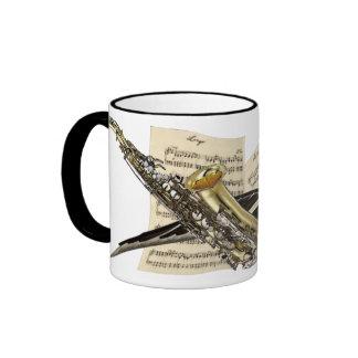 Saxophone & Piano Music Ringer Coffee Mug