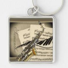 Saxophone & Piano Music Premium Keychain at Zazzle