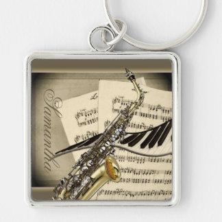 Saxophone & Piano Music Premium Keychain
