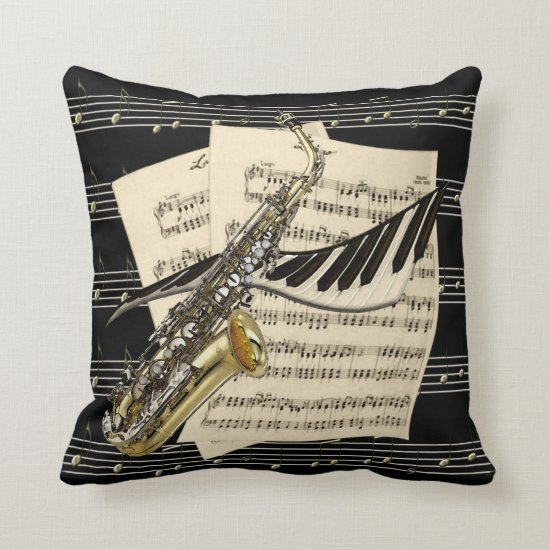 Saxophone & Piano Music Throw Pillow