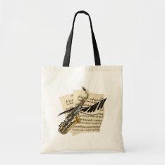 Saxophone & Piano Music Tote Bag at Zazzle