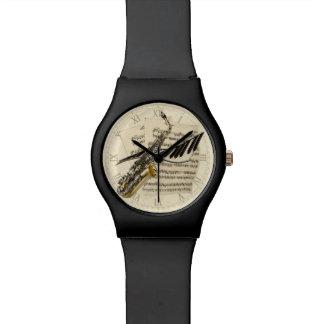 Saxophone & Piano Music Wrist Watch