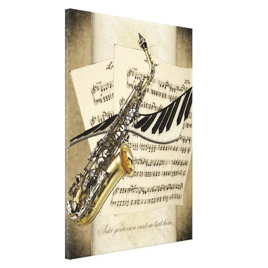 Saxophone & Piano Personalized Wall Canvas