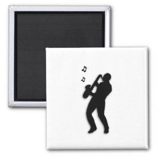 Saxophone Player 2 Inch Square Magnet