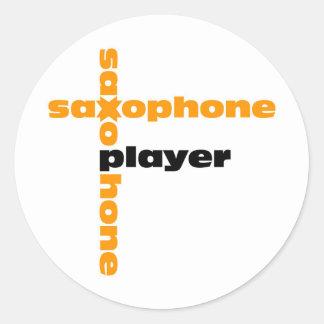 Saxophone Player Classic Round Sticker