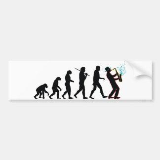 Saxophone Player Evolution Bumper Sticker