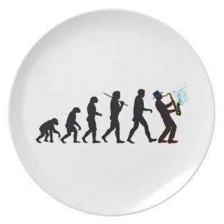 Saxophone Player Evolution Dinner Plate