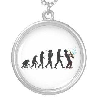 Saxophone Player Evolution Round Pendant Necklace