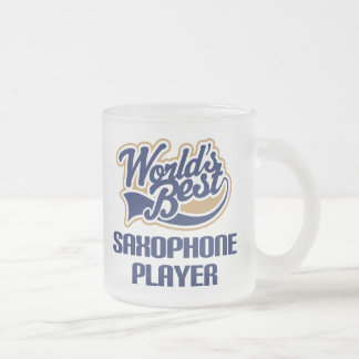 Saxophone Player Gift (Worlds Best) Frosted Glass Coffee Mug