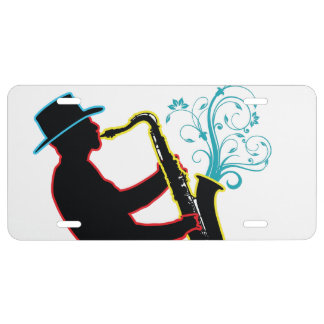 Saxophone Player License Plate
