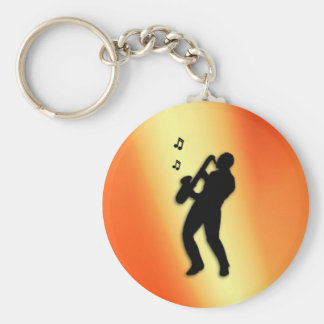 Saxophone Player Orange Keychain