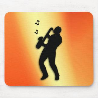 Saxophone Player Orange Mouse Pad