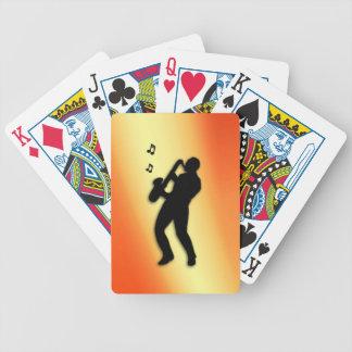 Saxophone Player Orange Bicycle Playing Cards