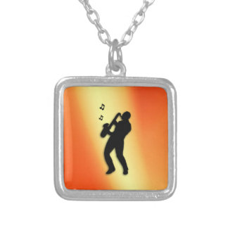 Saxophone Player Orange Square Pendant Necklace