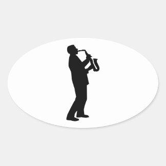 Saxophone player saxophonist oval sticker