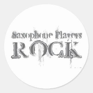 Saxophone Players Rock Round Sticker