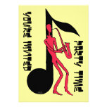 Saxophone playing man party invitation card