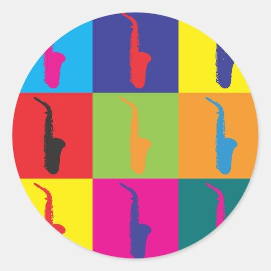 Saxophone Pop Art Classic Round Sticker