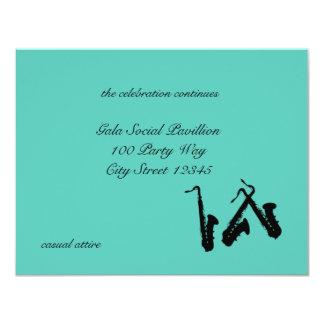 "Saxophone/ Reception Card 4.25"" X 5.5"" Invitation Card"