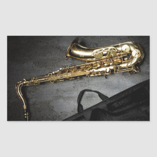 Saxophone Rectangular Sticker