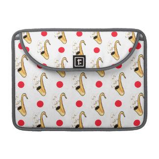 Saxophone, Red & White Polka Dots MacBook Pro Sleeves