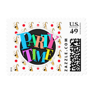 Saxophone, Red & White Polka Dots Postage