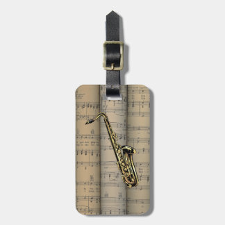 Saxophone ~ Rolled Sheet Music Background ~ Music Luggage Tag