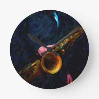Saxophone Round Clock