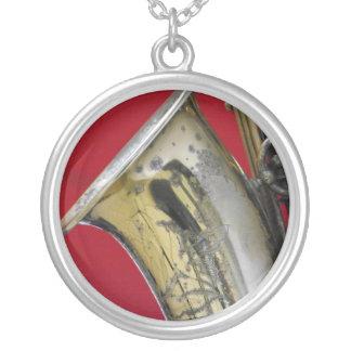 Saxophone Round Pendant Necklace
