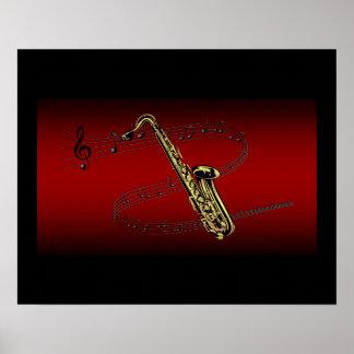 Saxophone ~ Scrolling Scale ~ Maroon & Black Back Poster