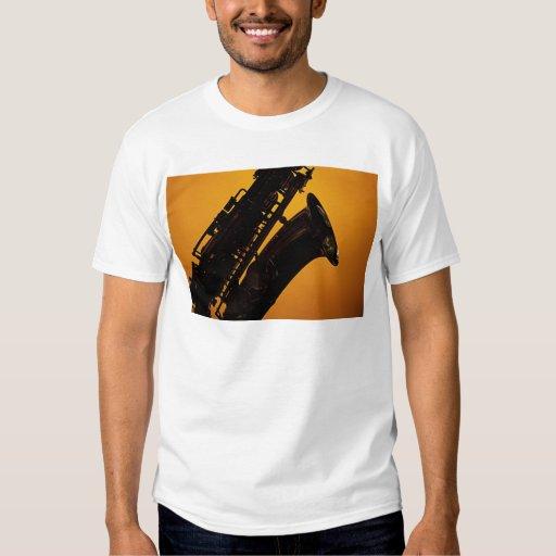 Saxophone Shadow on Gold Background Shirt