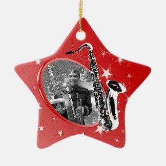 Saxophone Shining Star Photo Ceramic Ornament