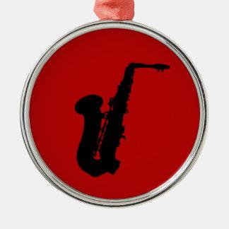 Saxophone silhouette metal ornament