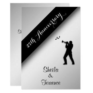 Saxophone Silver Wedding Anniversary Invitation