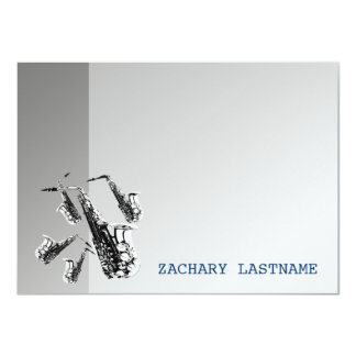 Saxophone Thank You Flat Card