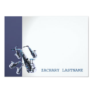 Saxophone Thank You Flat Card Personalized Invite