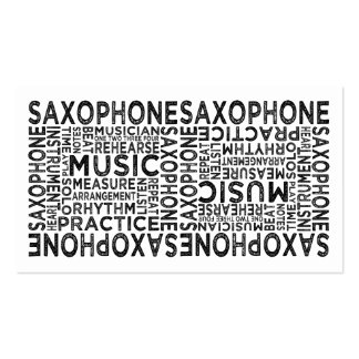 Saxophone Typography Business Cards