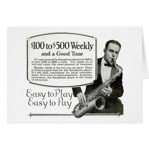 Saxophone Vintage Ad Card