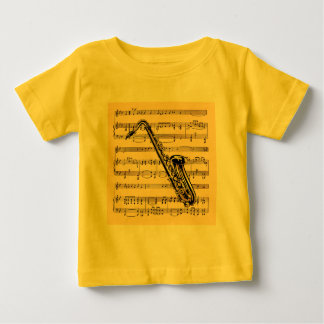 Saxophone w/Sheet Music Background ~ Musical Instr Baby T-Shirt
